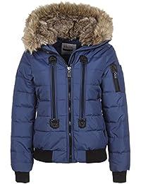 SUBLEVEL Damen Winterjacke | Warme Steppjacke mit Kunstfell-Kapuze leicht Wasserabweisend