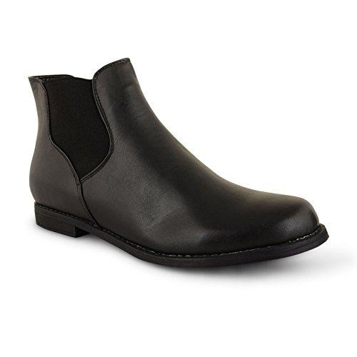Damen Ankle Boots, schwarz Damen niedrigen Ferse Twin Zwickel Chelsea Pull On Schuhe Größe Schwarz (Black Pu)