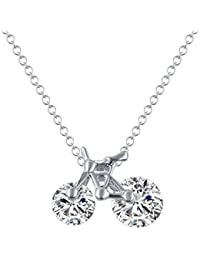 Hot And Bold Sparkling Fashion Pendant With Chain For Women & Girls. Made With Alloy, Crystal & Zircon - Silver...