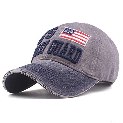 Saingace(TM) Gewaschene Baseball Cap,Herren Damen Lässiger Hut USA Coast Guard Stickerei Cap, Vintage (Destroyed/Distressed) Kappe Sonnenschutz Sonnenhut für Outdoor Sport Reise (Grau) - Usa-mesh-hut