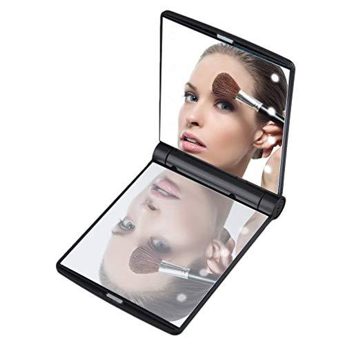 LED-Make-Up-Spiegel Tragbare Tragbare Falten Eingebaute Mini-LED-Glühbirnen Lady Make-Up Doppelseitig Kleine Spiegel Beauty-Kosmetikspiegel -