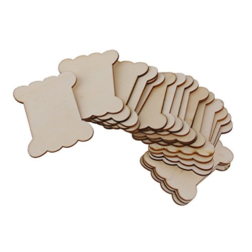 B Baosity 20 Stücke Holz Blank Thread Ribbon Twine Reel Organizer Flache Spulen Versorgung