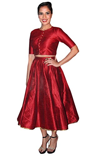 Fabboom Women'S Raw Silk Lehenga Choli Lehenga Choli (Fbba102-1050_Maroon_30W X 34L)  available at amazon for Rs.199