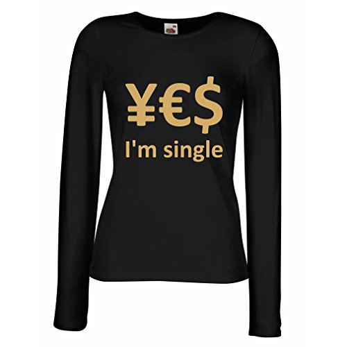 meln T-Shirt Yes, I'm Single! (Small Schwarz Gold) (Beste Weibliche Kostüme Ideen)