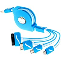 thanly cavo USB 1 m 1 m 4 in 1 universale cavo cavo di ricarica retrattile per iPhone 6 6S Plus 5 5S 5 C SE 4s 4 Ipad Mini 2, Samsung Galaxy S3 S4 S5 S6 S7 Edge \ Plus Note 2 3 4 5 HTC LG [Blu]