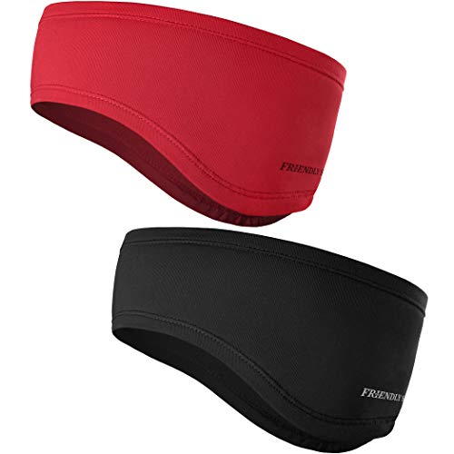 The Friendly Swede Stirnband 2-er Set - Kopfband, Headband für optimalen Ohrenschutz beim Jogging, Laufen, Wandern, Fahrrad- und Motorrad Fahren - Stirnbänder für Damen und Herren (Schwarz + Rot)
