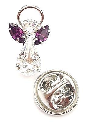 Swarovski Crystal Elements Birthstone Guardian Angel Pin February Amethyst