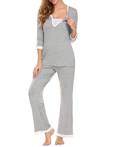 Unibelle Damen Umstandspyjama Zweiteilig Pyjama Set Nachthemd Nachtwäsche Hausanzug mit Knöpfeleiste Grau M (Loungewear Baby-jungen-pyjama)