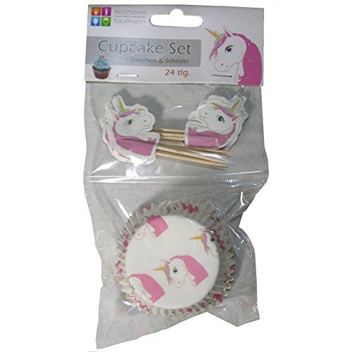 24er Set Cupcakeform mit Schild EINHORN Muffinförmchen Muffin Backform Papier