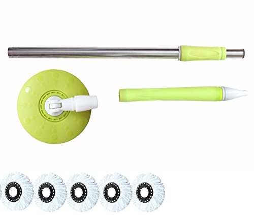Home Cleaning 360° Spin Floor Cleaning Easy Advance TechRotating Steel Pole Head Of Bucket Mop With 5 Microfiber Refill Heads - Green  available at amazon for Rs.549