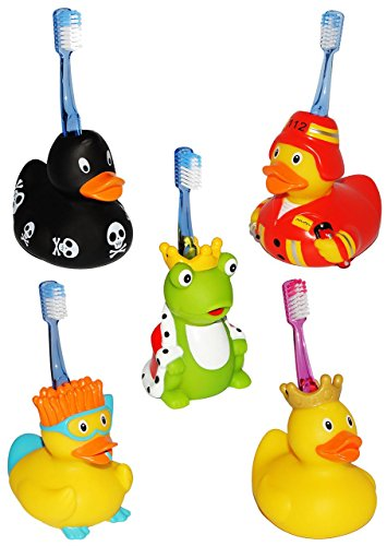 """Zahnbürstenhalter - """" Enten & Frösche """" - zum Zähneputzen / für Zahnbürste - Halter zum Stellen / Halterung - Badezimmer Bad - auch als Badewannenspielzeug - Kinderzahnbürste - für Kinder & Erwachsene / Mädchen Jungen - Tiere"""