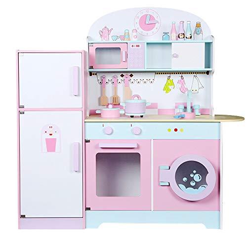 Kinder Spielzeug Kitchen Große Junge Kinder aus Holz Simulation Spiel-Haus Küche Kühlschrank Herd Kombination Küche Spielzeug Role Play Pretend Set für Kinder ( Color : Pink , Size : 85.5x22x32cm )