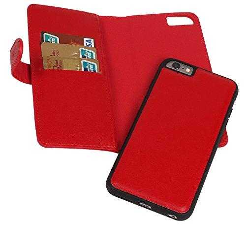 iPhone 6 6S Coque, Vandot Portefeuille Amovible Magnétique à Fermeture à glissière [Grande capacité] Housse en Cuir PU PU Flip Housse Pochette à glissière Case Cover Amovible Couverture pour iPhone 6  Poche-Rouge