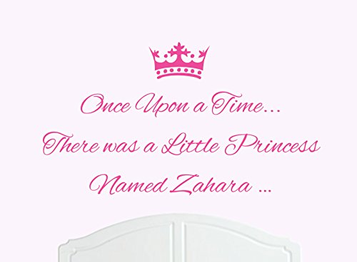 ONCE UPON A TIME THERE WAS A LITTLE PRINCESS LLAMADO ZAHARA TAMAñO GRANDE ADHESIVO DECORATIVO PARA PARED/DE VINILO CAMA HABITACION ARTE CHICA/BEBE