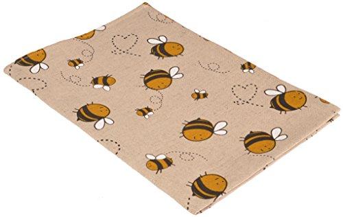Vaitkute 216052 - Set di 2 asciugapiatti Biene misto lino con stampa motivo: api 50% lino e 50% cotone lavabili a 40º 240 g/ m2 47 x 70 cm colore: naturale/giallo