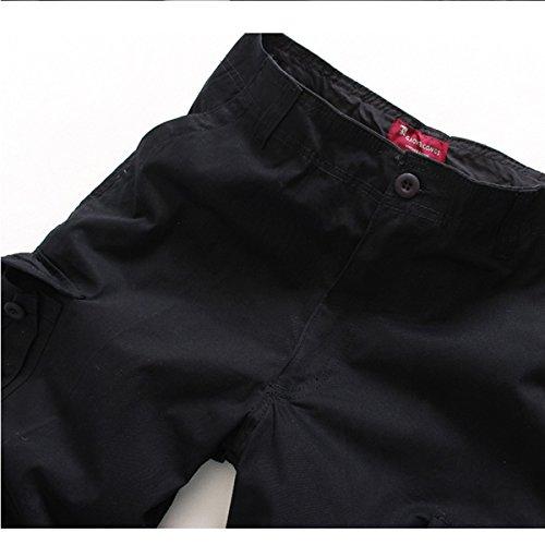 MENSCHWEAR Uomo Pantaloncini corti Bermuda Cargo short con tasconi laterali con cintura 44-58 Nero