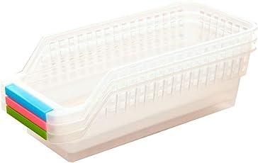Kentop Kühlschrank Organizer Kühlschrank-Boxen Ordnungssystem Kühlschrank Schublade Regal Loft Aufbewahrungsbox mit Griffen, 1Stk(Zufällige Farbe)