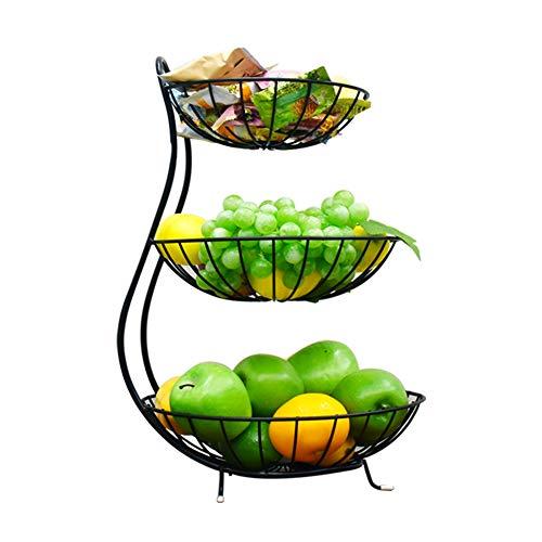 KEOA 3 Etagen Obst Etagere Obstkorb Metall, Obstschale mit schwarzen Antirutsch-Füßen,für mehr Platz auf Ihrer Arbeitsplatte(schwarz)