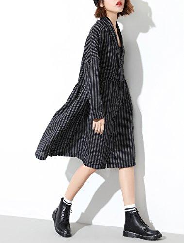 ELLAZHU Damen Streifen V-Ausschnitt Taschen Langarm Kleid GY1224 Schwarz