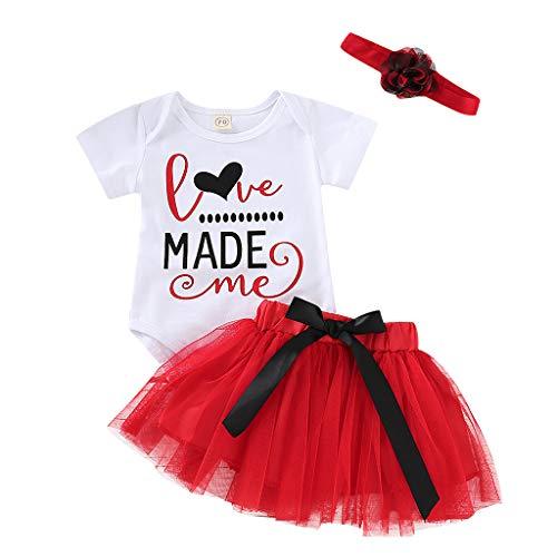s Baby Girl Brief Strampler + Tutu Tüllrock Valentine Outfits Set für 3M-24M ()