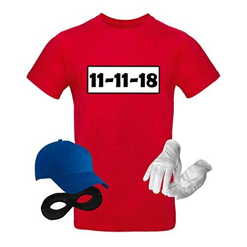 T-Shirt Panzerknacker Kostüm-Set Wunschnummer Cap Maske Karneval Herren XS - 5XL Fasching JGA Party Sitzung, Größe:M, Logo & Set:11.11./Set komplett ()