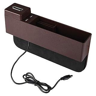 HOGAR AMO Autositz Seiten Schlitz Taschen ABS Organizer Aufbewahrungsbox Ablagefach für Handys, Schlüssel, Karten, Brieftaschen, Münzen mit 2 USB-Ports Autozubehör Geeignet für die Meisten Auto