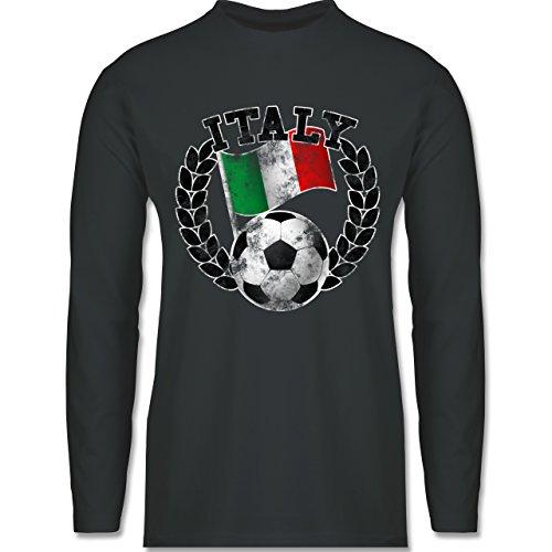 EM 2016 - Frankreich - Italy Flagge & Fußball Vintage - Longsleeve / langärmeliges T-Shirt für Herren Anthrazit