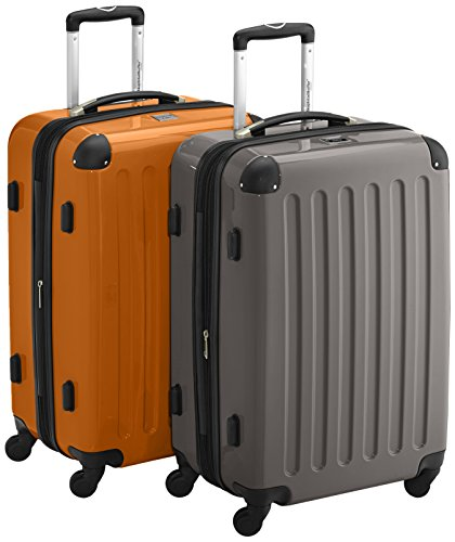 HAUPTSTADTKOFFER - Alex - 2er Koffer-Set Hartschale glänzend, TSA, 65 cm, 74 Liter, Graphit-Orange