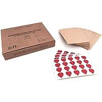 100 bolsas maravillosas de papel y 100 Stickers | Bolsas de regalo vintage y calcomanías de corazones | Bolsas de Adviento | Sobres delgados para cartas de buenos deseos y pañuelos de boda | Bolsas pa