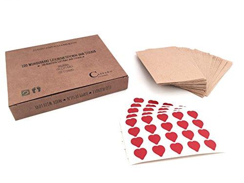100 wunderbare Papier-Tüten & 100 Sticker | vintage Geschenktüten und Herz-Aufkleber | Flachbeutel für Freudentränen Hochzeit Taschentücher (6x10cm, Kraftpapier)