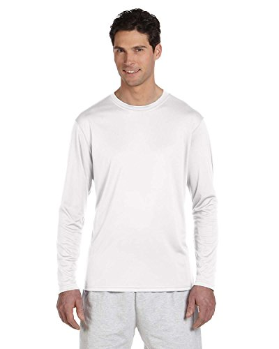 Herren Double Dry Performance Langarm-T-Shirt, Wei?, M (T-shirt Dry Performance Double)