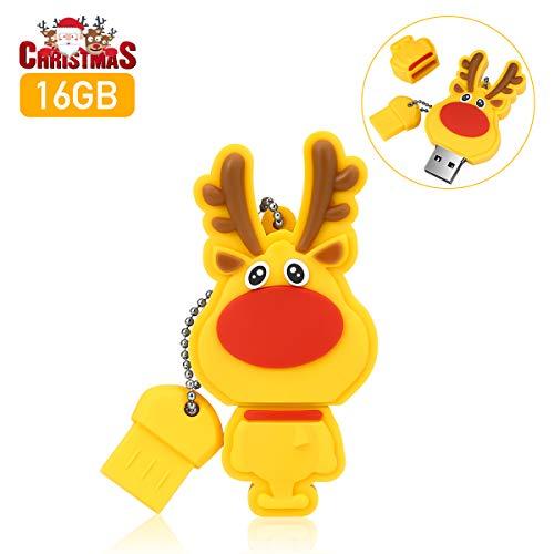 USB Stick 16GB, MECO ELEVERDE Weihnachten Elch USB 2.0 Memory Stick Speicherstick Weihnachten/Geburtstag Geschenk für School, Büro,Kinder und Home -