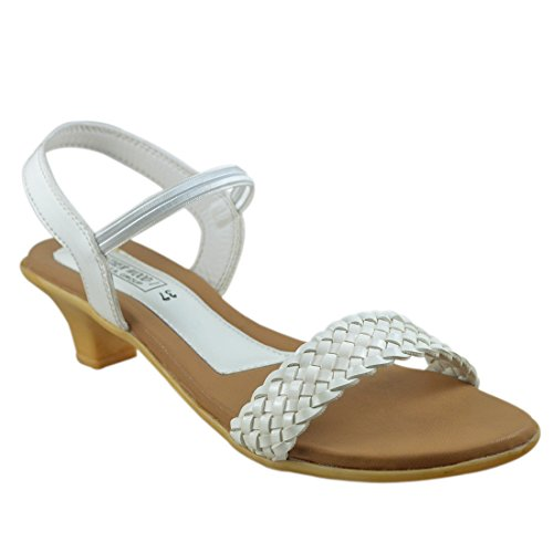 Leatherwood1 Synthetic Leather Casual Heels Sandal for Women's (White) - 888246 - [UK/in 6]