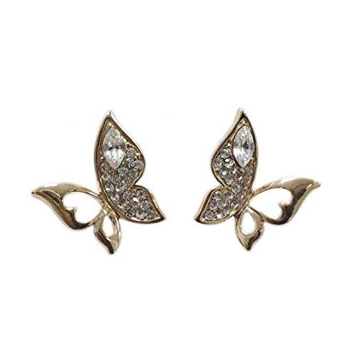 Fashiongen - Boucles d'oreilles, papillons, strass, RB5-6723B Doré