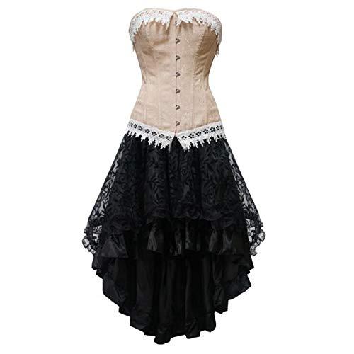 k Korsetts und Bustiers Burlesque Gothic Spitze Steampunk Korsett Kleid Plus Größe Kostüm Floral Bustier Kleid ()