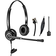 Telefon Headset Dual Ohr RJ9 verdrahtet Call Center Headset mit Noise  Cancelling Mikrofon für Tischtelefone Avaya 0ee182e589