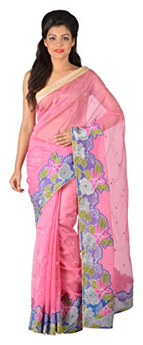 Gratitude Women's Viscose Saree (Pink)