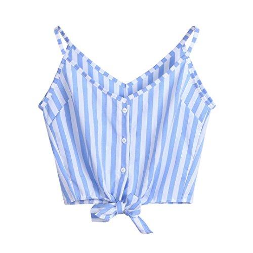 ESAILQ Damen T-Shirt Ladies Long Back Shaped Spray Dye Tee(L,Blau)