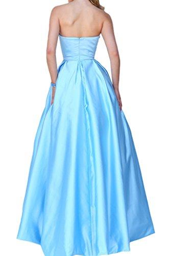 Charmant Damen Elegant Satin Traegerlos Lang A-linie Abendkleider Festlichkleider Promkleider Abschlussball Hellblau