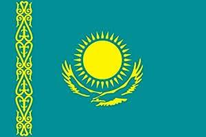Flagge Fahne Kasachstan, ca. 400 x 150 cm Hochformat, 110 g/m² Polyesterwirkware