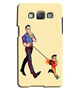 Blue Throat Kid And Dad Drinking Printed Designer Back Cover/ Case For Samsung Galaxy A5