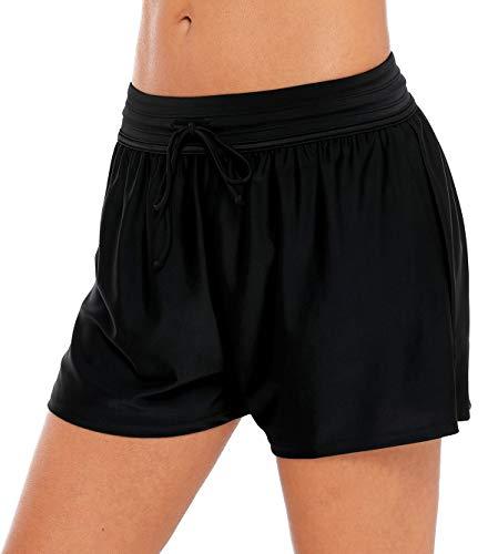 BeautyIn Bikinishorts für Damen Elastisch Hotpants Frauen Badehosen Schwimmen Strandshorts, Schwarz#1, M
