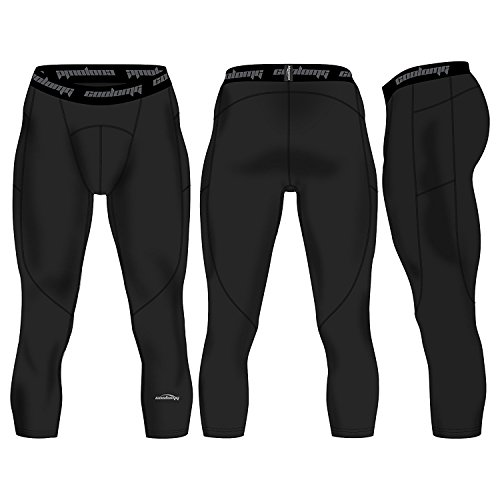 COOLOMG Herren Jugend Compression Tights Laufhose 3/4 Capris Training Fußball mit Taschen Schwarz S (Jugend-fußball-trainings-hose)