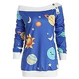 Toasye Frauen Herbst Winter Langarm Space Star Print Pullover Sweatshirt Top Bluse