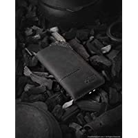 Leather iPhone X wallet/case with card pockets | Carbon Black, vintage, handmade Crazy Horse leather mobile phone sleeve, 100% wool felt, iPhone 8/7/6/SE/5s, Samsung Galaxy 9/8 case, Crazy Horse Craft