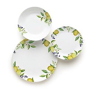 Excelsa Lemon 18-teiliges Tafelservice, Porzellan, Weiß/Zitronen