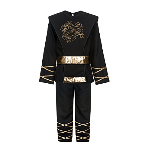Kostümplanet® Ninja-Kostüm Kinder schwarz Drachen Ninja Größe 152