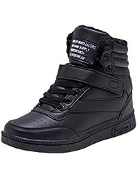 Zapatillas Deportivas Plataforma Cuña para Mujer - Cabeza Redonda Zapatos con Cordones Color Sólido Zapatillas de Correr Ocio Elegante Zapatillas de Deporte Velcro
