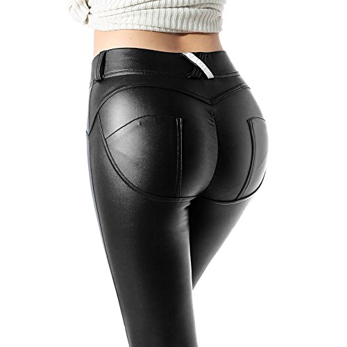 Donna Gli Sport Yoga Stretto Ghette Elastico Sintetico Ghette Pu Pelle I Pantaloni Matita Pantaloni Collant In Esecuzione Sport Magro I Pantaloni Juleya Juleya Nero