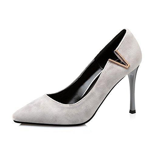 FLYRCX Moda europea punta di metallo sottile e poco profonde e camoscio ladies party scarpe personalità sexy tacchi alti A